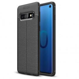 Coque Silicone Samsung Galaxy S10 Cuir 3D Noir