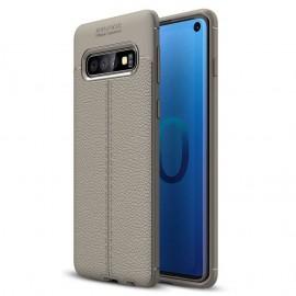 Coque Silicone Samsung Galaxy S10 Cuir 3D Gris