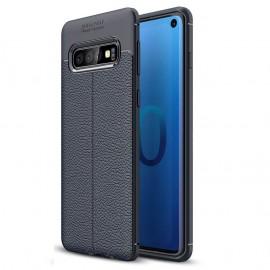 Coque Silicone Samsung Galaxy S10 Cuir 3D Bleu