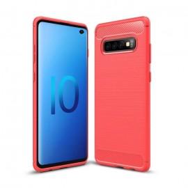 Coque Silicone Samsung Galaxy S10 Brossé Rouge