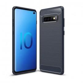 Coque Silicone Samsung Galaxy S10 Brossé Bleu