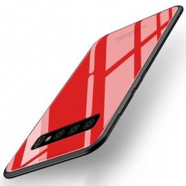 Coque Samsung Galaxy S10  Silicone Rouge et Verre Trempé