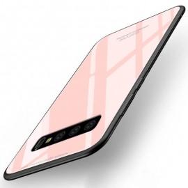 Coque Samsung Galaxy S10 Silicone Rose et Verre Trempé