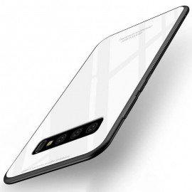 Coque Samsung Galaxy S10 Silicone Blanche et Verre Trempé