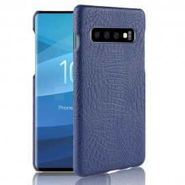 Coque Samsung Galaxy S10 Croco Cuir Bleu