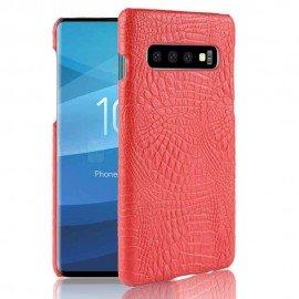 Coque Samsung Galaxy S10 Croco Cuir Rouge