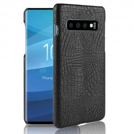 Coque Samsung Galaxy S10 Croco Cuir Noir