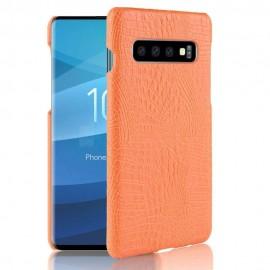 Coque Samsung Galaxy S10 Croco Cuir Orange