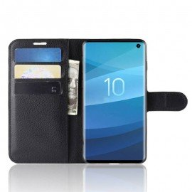 Etuis Portefeuille Samsung Galaxy S10 Simili Cuir Noir