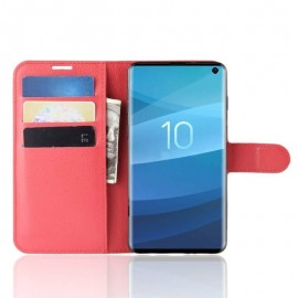 Etuis Portefeuille Samsung Galaxy S10 Simili Cuir Rouge