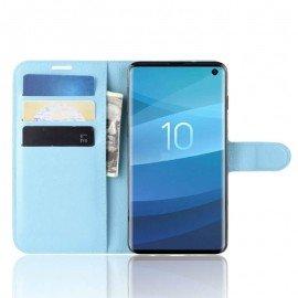 Etuis Portefeuille Samsung Galaxy S10 Simili Cuir Bleu