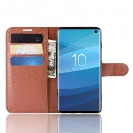 Etuis Portefeuille Samsung Galaxy S10 Simili Cuir Marron