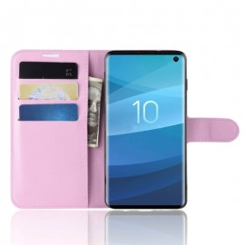 Etuis Portefeuille Samsung Galaxy S10 Simili Cuir Rose