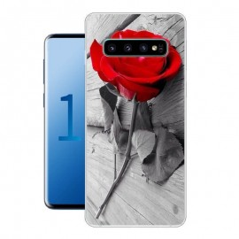 Coque Silicone Samsung Galaxy S10 Rose Rouge