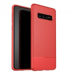 Coque Silicone Samsung Galaxy S10 Carbon 3D Rouge