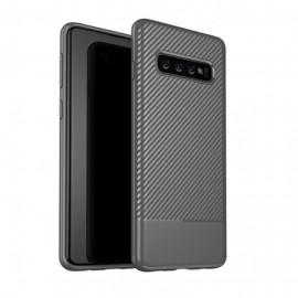 Coque Silicone Samsung Galaxy S10 Carbon 3D Gris
