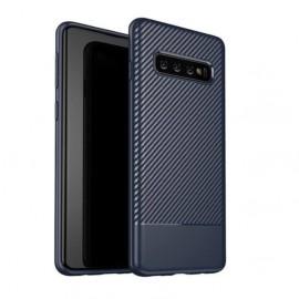Coque Silicone Samsung Galaxy S10 Carbon 3D Bleu