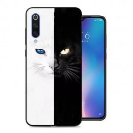 Coque Silicone Xiaomi MI 9 Chat Noir & Blanc