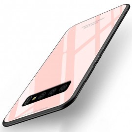 Coque Samsung Galaxy S10 Plus Silicone Rose et Verre Trempé