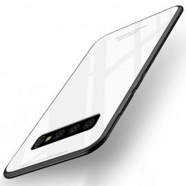 Coque Samsung Galaxy S10 Plus Silicone Blanche et Verre Trempé