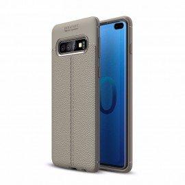 Coque Silicone Samsung Galaxy S10 Plus Cuir 3D Grise