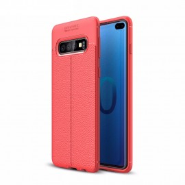 Coque Silicone Samsung Galaxy S10 Plus Cuir 3D Rouge