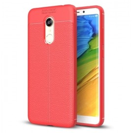Coque Silicone Xiaomi Redmi 5 Plus Cuir 3D Rouge