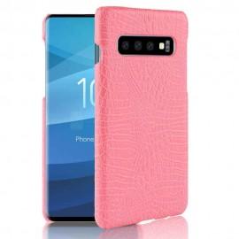Coque Samsung Galaxy S10 Plus Croco Cuir Rose