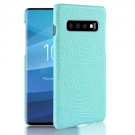 Coque Samsung Galaxy S10 Plus Croco Cuir Turquoise