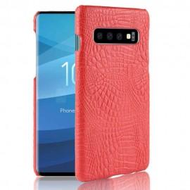 Coque Samsung Galaxy S10 Plus Croco Cuir Rouge