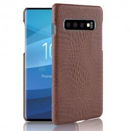 Coque Samsung Galaxy S10 Plus Croco Cuir Marron