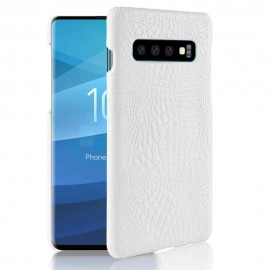 Coque Samsung Galaxy S10 Plus Croco Cuir Blanche