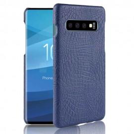 Coque Samsung Galaxy S10 Plus Croco Cuir Bleue