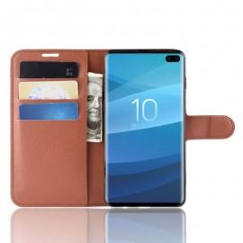 Etuis Portefeuille Samsung Galaxy S10 Plus Simili Cuir Marron
