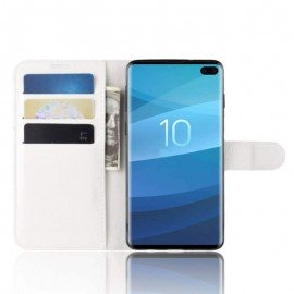 Etuis Portefeuille Samsung Galaxy S10 Plus Simili Cuir Blanc