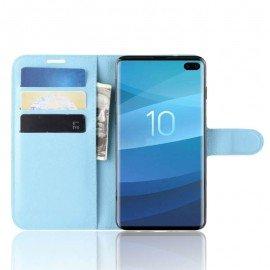 Etuis Portefeuille Samsung Galaxy S10 Plus Simili Cuir Bleu