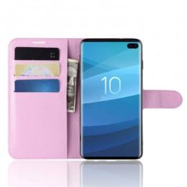 Etuis Portefeuille Samsung Galaxy S10 Plus Simili Cuir Rose