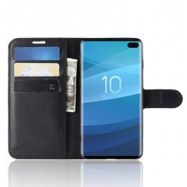 Etuis Portefeuille Samsung Galaxy S10 Plus Simili Cuir Noir