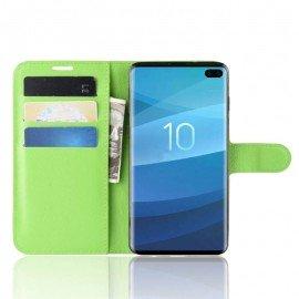 Etuis Portefeuille Samsung Galaxy S10 Plus Simili Cuir Vert