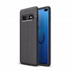 Coque Silicone Samsung Galaxy S10 Plus Cuir 3D Noire