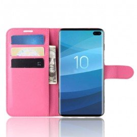 Etuis Portefeuille Samsung Galaxy S10 Plus Simili Cuir Fushia