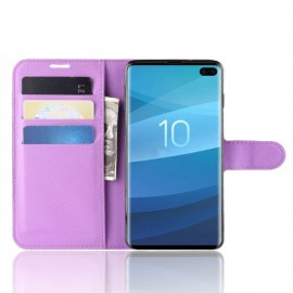 Etuis Portefeuille Samsung Galaxy S10 Plus Simili Cuir Lila