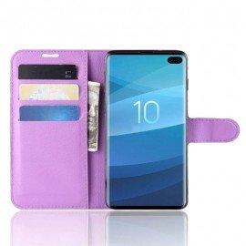 Etuis Portefeuille Samsung Galaxy S10 Plus Simili Cuir Lila