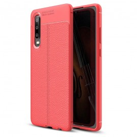 Coque Silicone Huawei P30 Cuir 3D Rouge