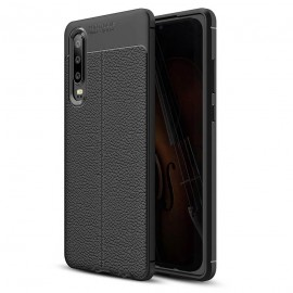 Coque Silicone Huawei P30 Cuir 3D Noire