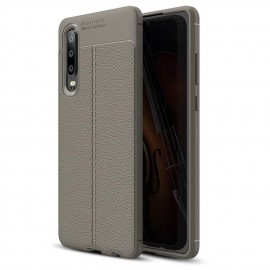 Coque Silicone Huawei P30 Cuir 3D Gris