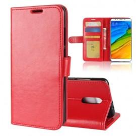 Etuis Portefeuille Xiaomi Redmi 5 Plus Simili Cuir Rouge