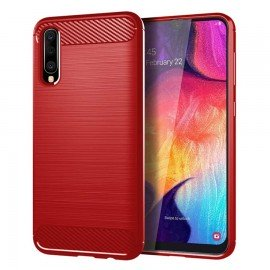 Coque Silicone Samsung Galaxy A50 Brossé Rouge