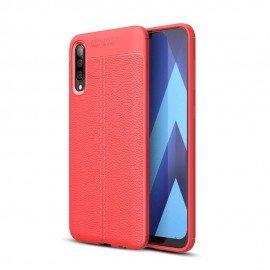 Coque Silicone Samsung Galaxy A50 Cuir 3D Rouge