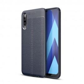 Coque Silicone Samsung Galaxy A50 Cuir 3D Bleu